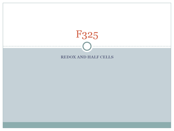 Preview of Redox and Half cells