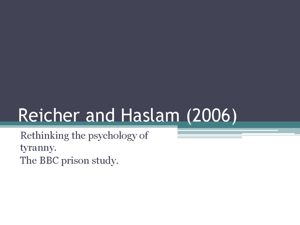 Preview of Reicher and Haslam (Core Study) - Social Psychology (Full study and background)