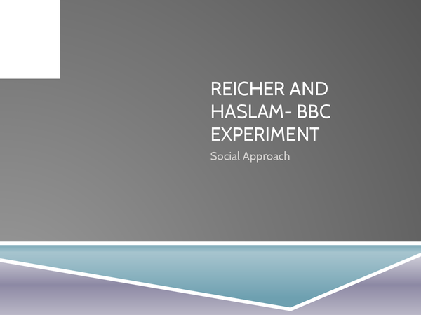 Preview of Reicher and Haslam- BBC Prison Study