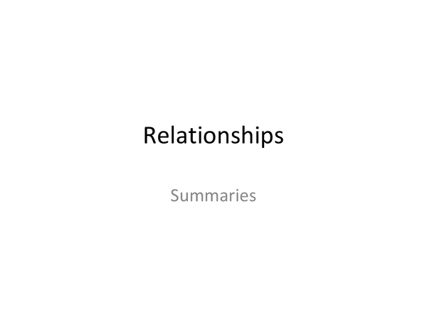 Preview of Relationships - Summaries