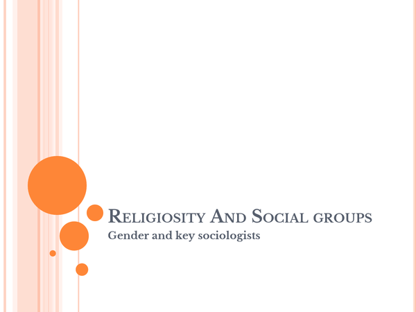 Preview of Religion And Social Groups: Gender