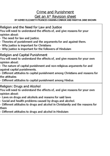 Preview of Religion and Society Revision Guide - Crime and Punishment