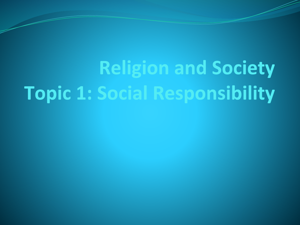 Preview of Religion and Society Topic 1