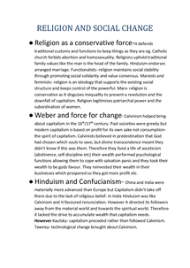 Preview of Religion as a Conservative Force or Force of Change revision summary