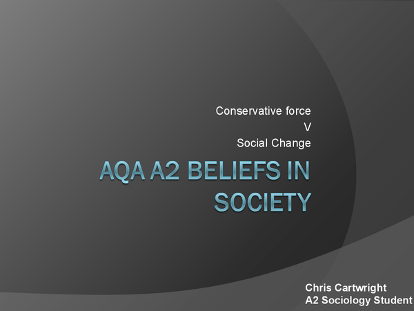 religion as a conservative force Religion as a conservative force describing religion as a 'conservative force' seems to imply that religion is an inhibitor of social change and used as a means by which.