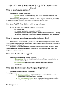 Preview of Religious Experiences- Quick Revision