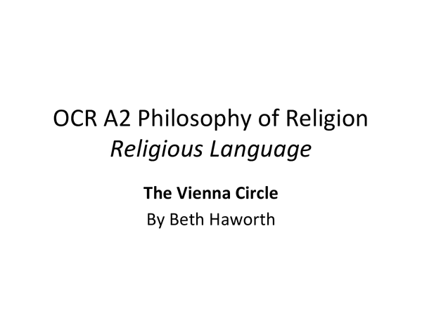 Preview of Religious Language: The Vienna Circle