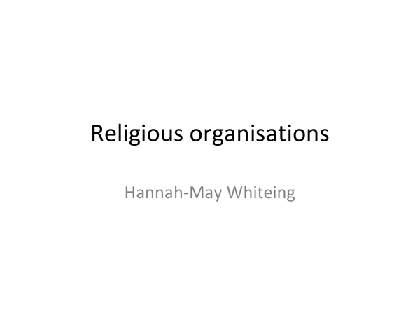 Preview of Religious Organisations