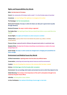 Preview of Religious Studies Key Words (Rights and Responsibilities, Environmental and Medical issues, Peace and Conflict, Crime and punishment) AQA