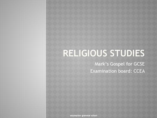 Preview of Religious Studies - Mark's Gospel