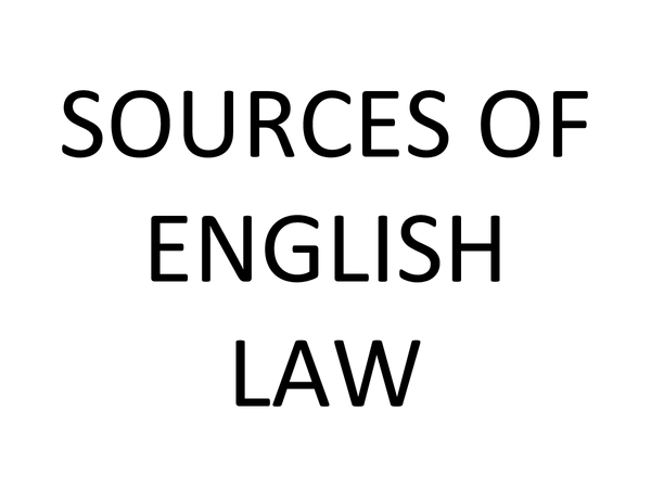 Preview of Required knowledge: Sources of English Law