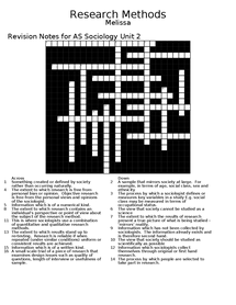 Preview of Research Method Revision Crossword