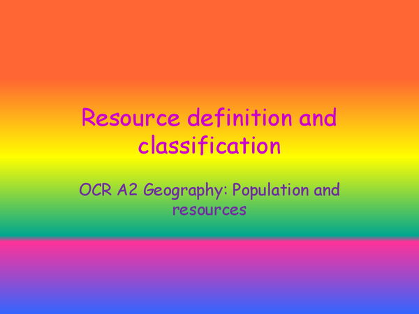 Preview of Resource definition and classification