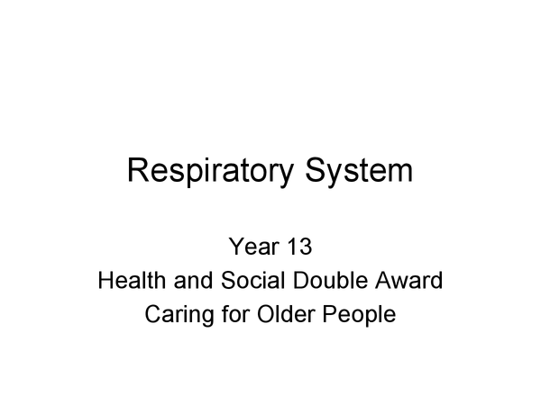 Preview of Respiratory disorders in the elderly.