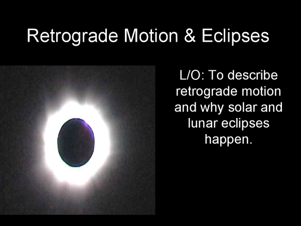 Preview of Retrograde Motion & Eclipses