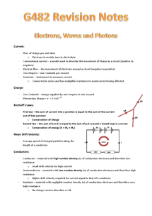 Preview of Revision notes for AS physics (G482), covers electricity, waves and quantum