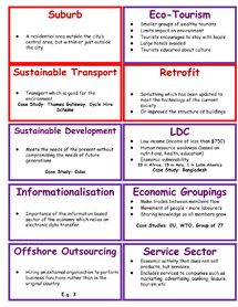 Preview of Revision Cards for AQA unit World Cities cont and Development and Globalisation