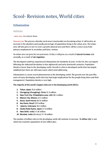 Preview of Revision Notes A2 AQA Geography World Cities