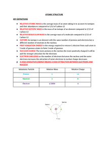 Preview of Revision notes for AQA AS Chemistry Unit 1- Atomic Structure