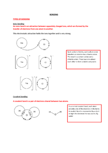 Preview of Revision notes for AQA AS Chemistry Unit 3 and 4- Bonding and Periodicity