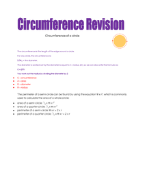 Preview of revision notes for circumference of a circle