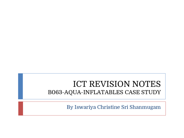 Preview of Revision Notes For ICT B063