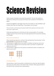 Preview of revision notes for solids liquid and gases
