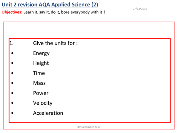 Preview of revision questions for the physics bits.