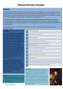 Preview of Richard Brinsley Sheridan Information Sheet