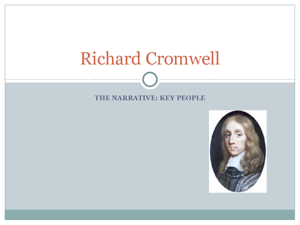 Preview of Richard Cromwell and his downfall