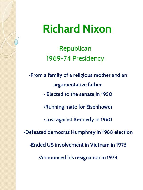 Preview of Richard Nixon - Unit 1 Edexcel Notes