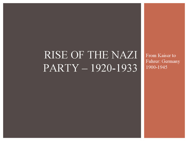 Preview of Rise of the Nazi party