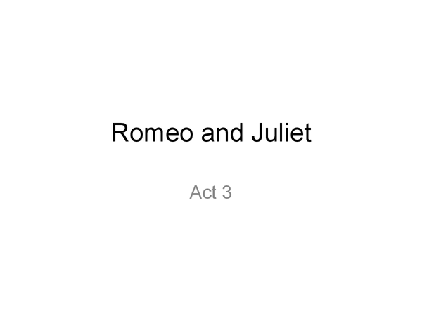 Preview of Romeo and Juliet