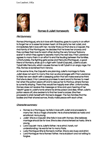 Preview of Romeo + Juliet Plot Summary & Character Summary