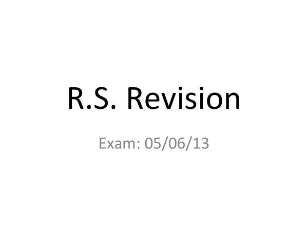 Preview of R.S. Unit 4 GCSE revision
