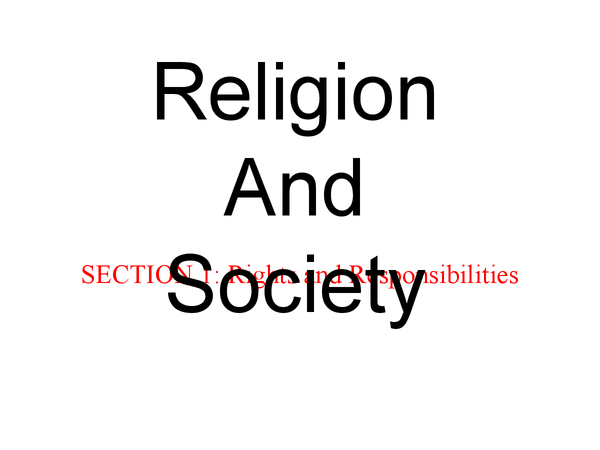 Preview of RS, unit 8 (Religion and society), section 1