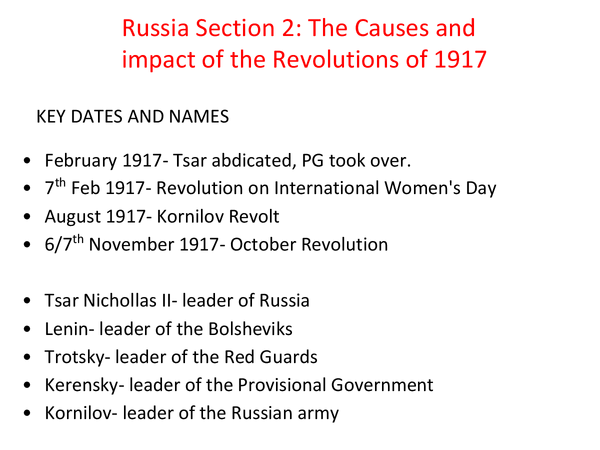 Preview of Russia section 2 : causes and impact of revolution