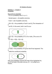Preview of S1 Statistics Revision - Chapter 5 Notes