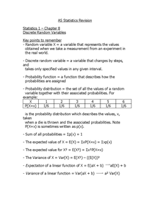 Preview of S1 Statistics Revision - Chapter 8 Notes