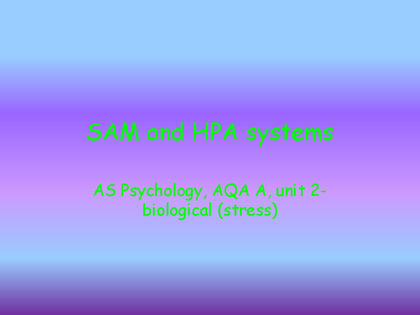 Preview of SAM and HPA systems