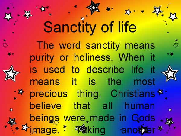 Preview of Sanctity of life