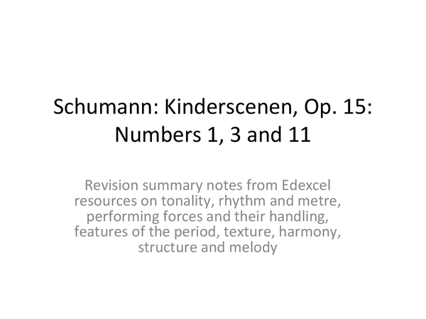 Preview of Schumann: Kinderscenen, numbers 1, 3 and 11
