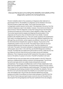 Preview of Schziophrenia- Reliability & Validity Essay