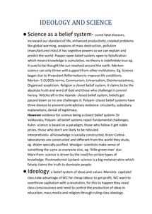 Preview of Science and Ideology Revision summary