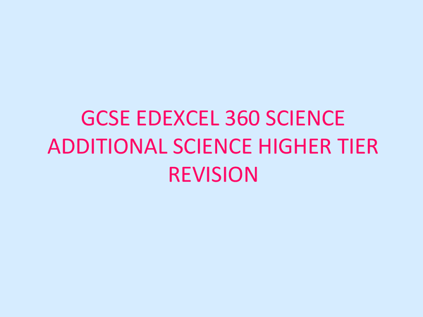 Preview of Science Revision