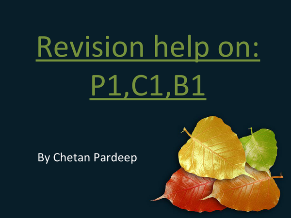 Preview of Science Revision on B1, C1, P1