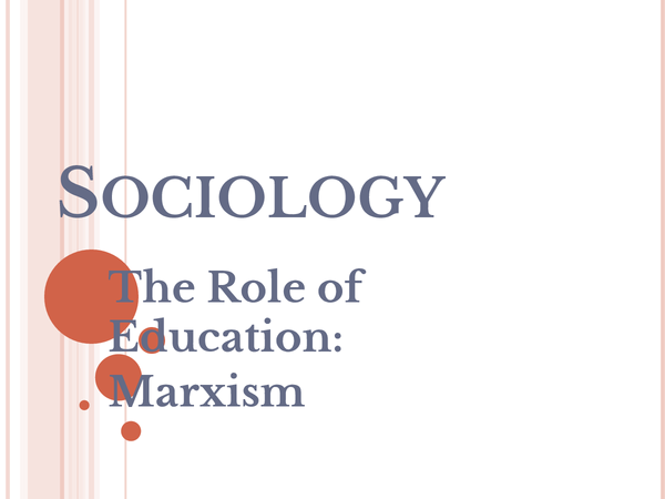 Preview of SCLY2 - Marxist View on Role of Education