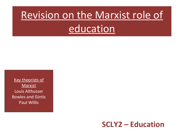 Preview of marxist role of education