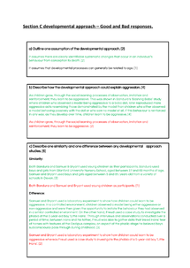 Preview of Section C Developmental Approach Exemplar - Good and Bad answers.