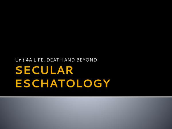 Preview of SECULAR ESCHATOLOGY